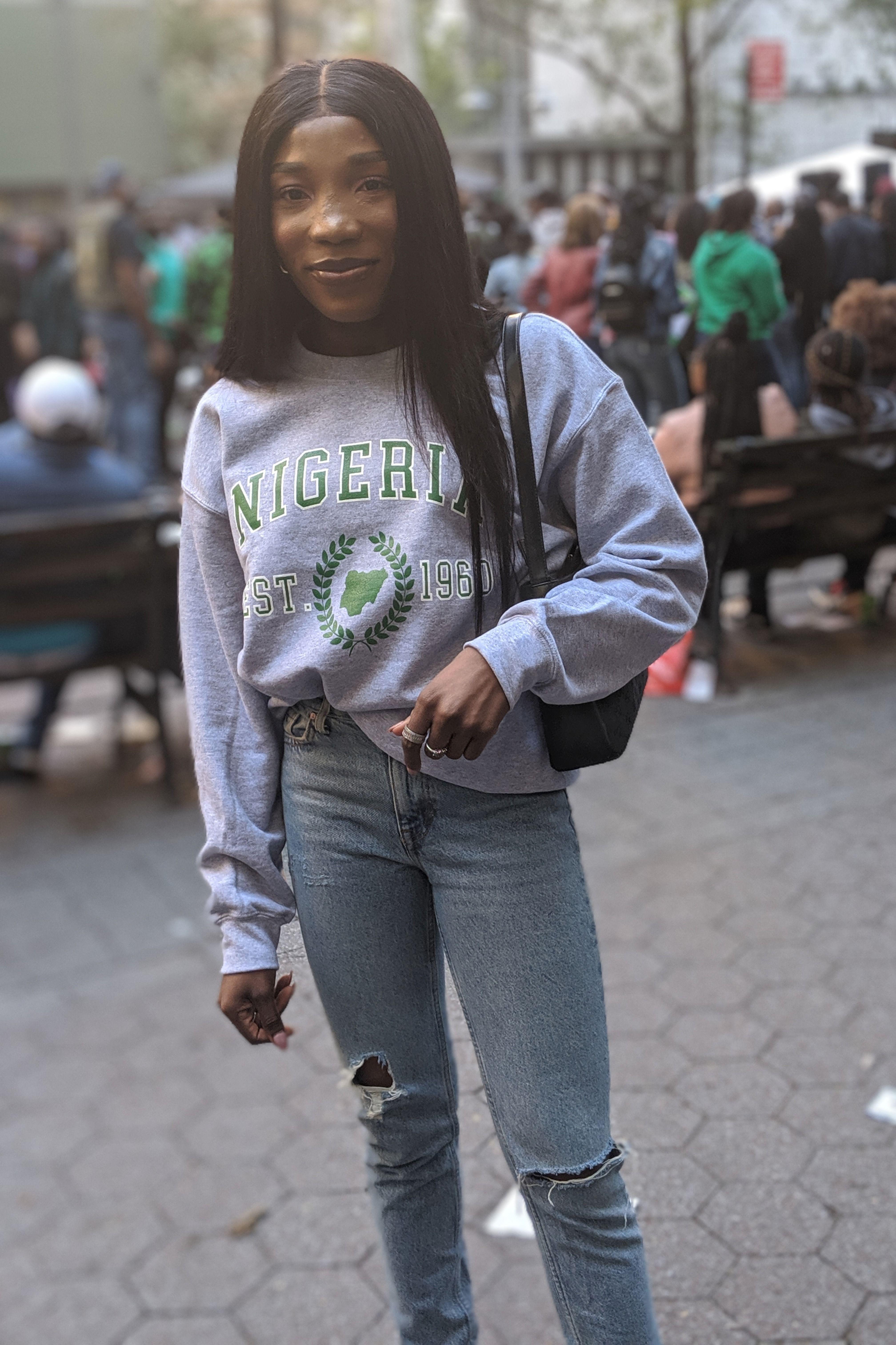 Nigerian Crewneck Sweatshirt Native Pikin African Men Fashion Black Girl Fashion African Clothing [ 6048 x 4032 Pixel ]