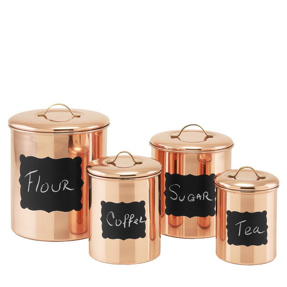 Decor copper chalkboard canister set piece canister sets
