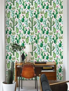 Cactus Print Wallpaper Watercolour Removable Self Adhesive Vinyl Nursery Wall Covering