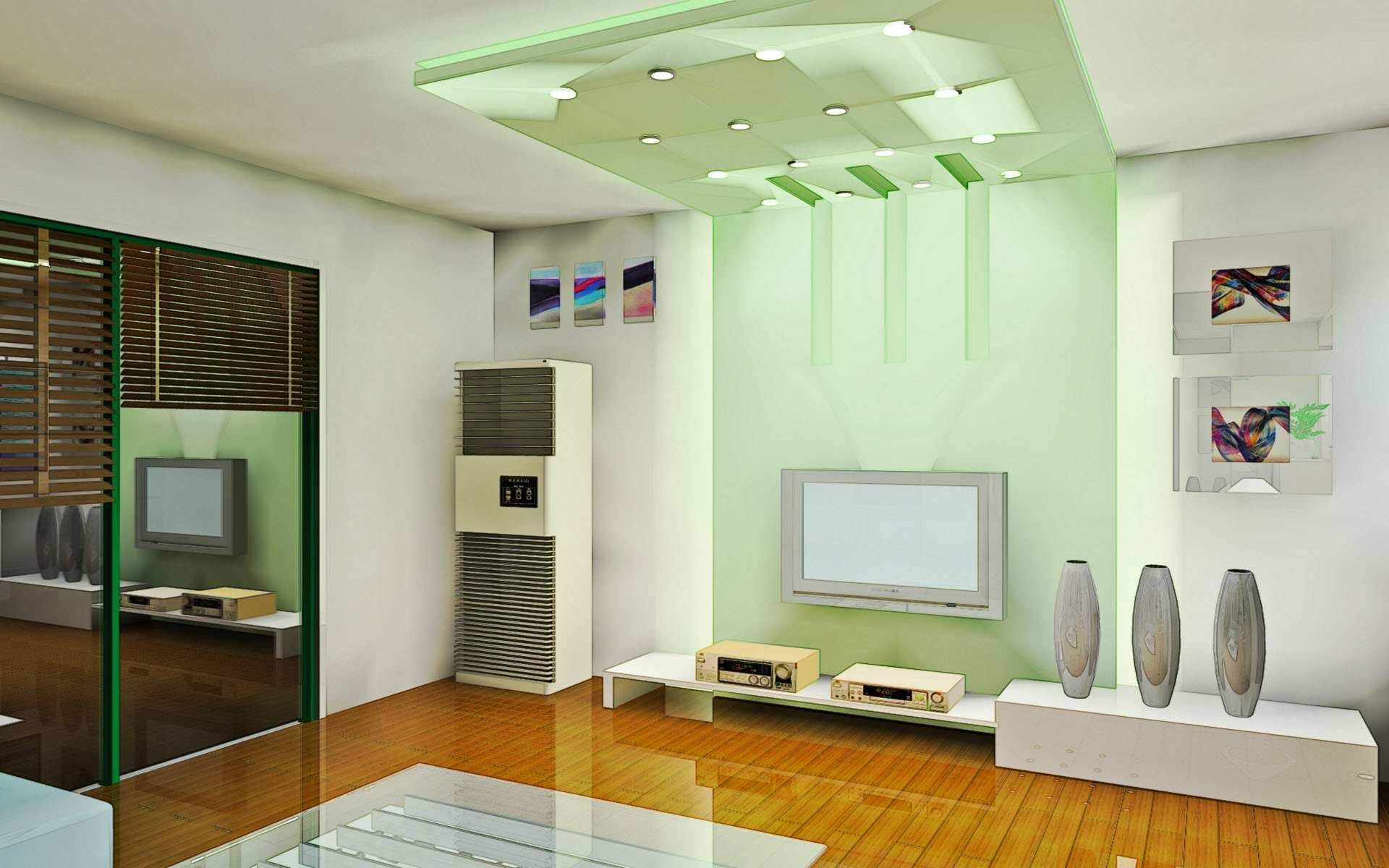 Nice Modern And Classy Living Room With White  Green - Interior lighting design for living room