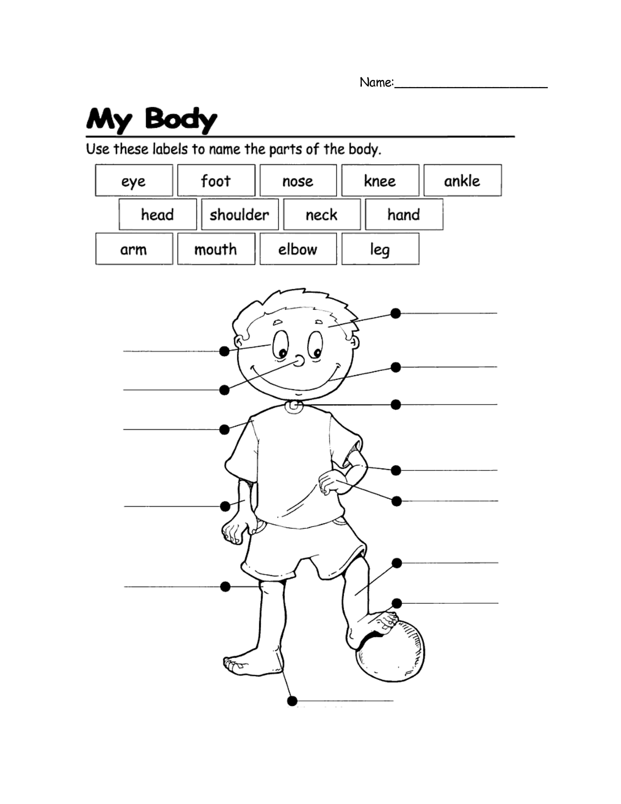 Name Parts Of The Body First Grade