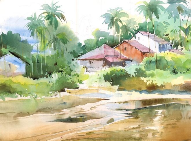 Watercolor Paintings By Indian Artists Landscape Art Painting