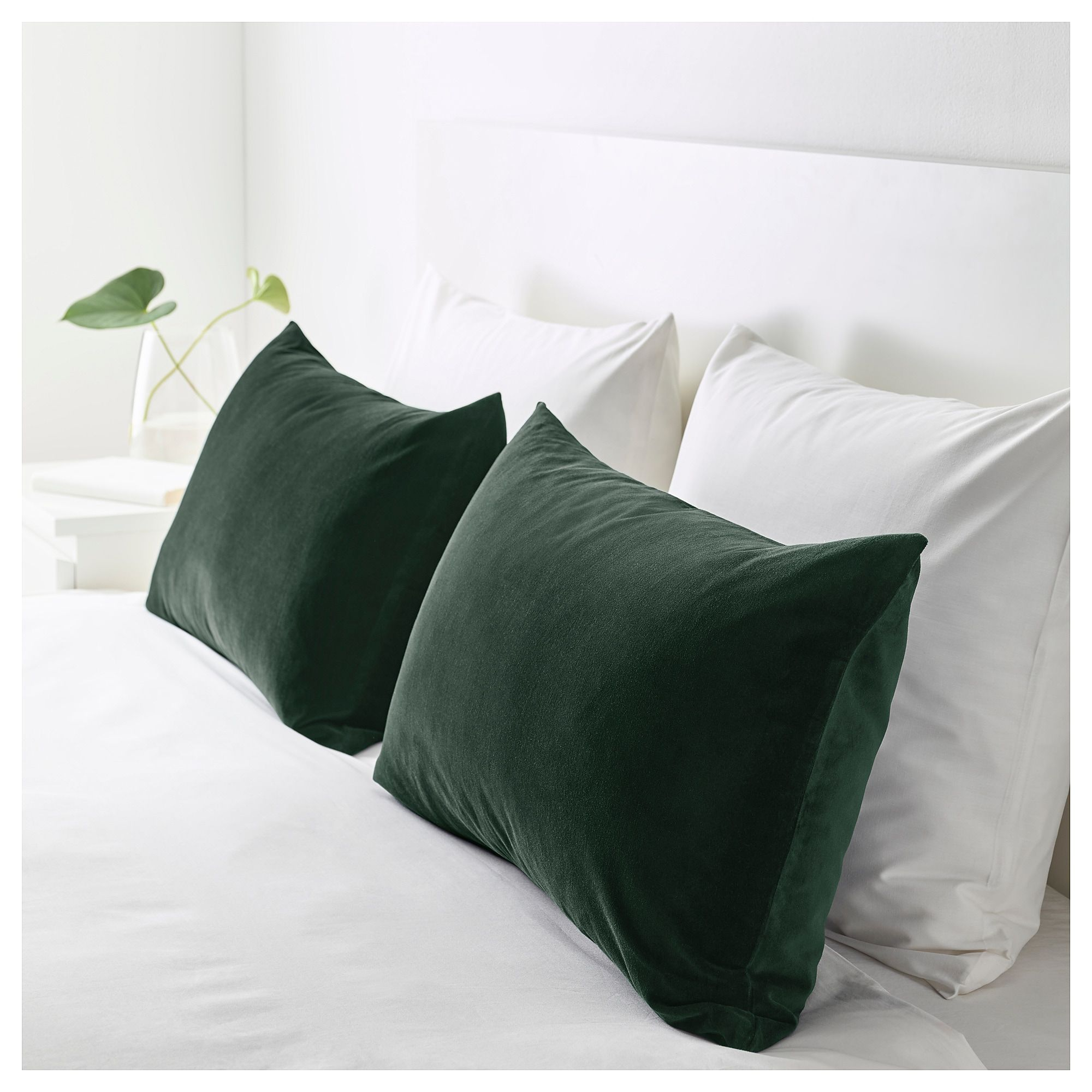 Sanela Cushion Cover Dark Green Official Website Ikea Hunter Green Bedrooms Green Velvet Pillow Green Bedding