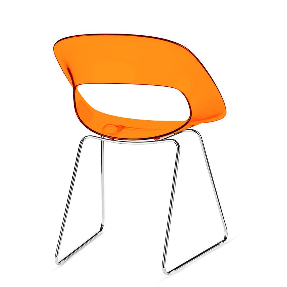 Sedia hitech Hill SL arancione in acrilico trasparente. Sedia di ...