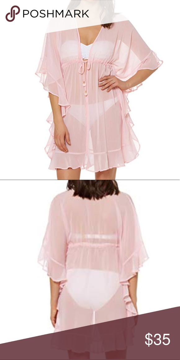 659725bcb1 Bleu Rod Beattie Sheer Pink Coverup Open front ruffle caftan cover up  Plunge V-neckline Flowy kimono sleeves Ruffle hemline Size small Bleu Rod  Beattie Swim ...
