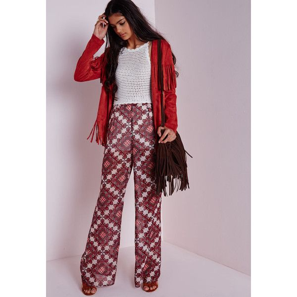 Missguided Paisley Print Chiffon Wide Leg Trousers ($8.50) ❤ liked on Polyvore featuring pants, red, wide leg pants, chiffon pants, see through pants, wide leg trousers and red wide leg trousers
