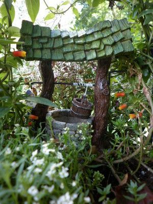 Fairy Garden Wishing Well  Dollhouse   Miniature  Indoor  Outdoor FiddleheadPin by Annalisse   on The Wee Folk   Pinterest   Irish leprechaun. Fairy Garden Ornaments Ireland. Home Design Ideas