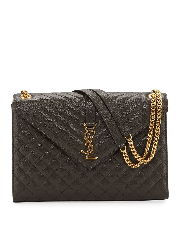 c6b26f374b Saint Laurent Monogram YSL V-Flap Large Tri-Quilt Envelope Chain Shoulder  Bag - Golden Hardware | Neiman Marcus