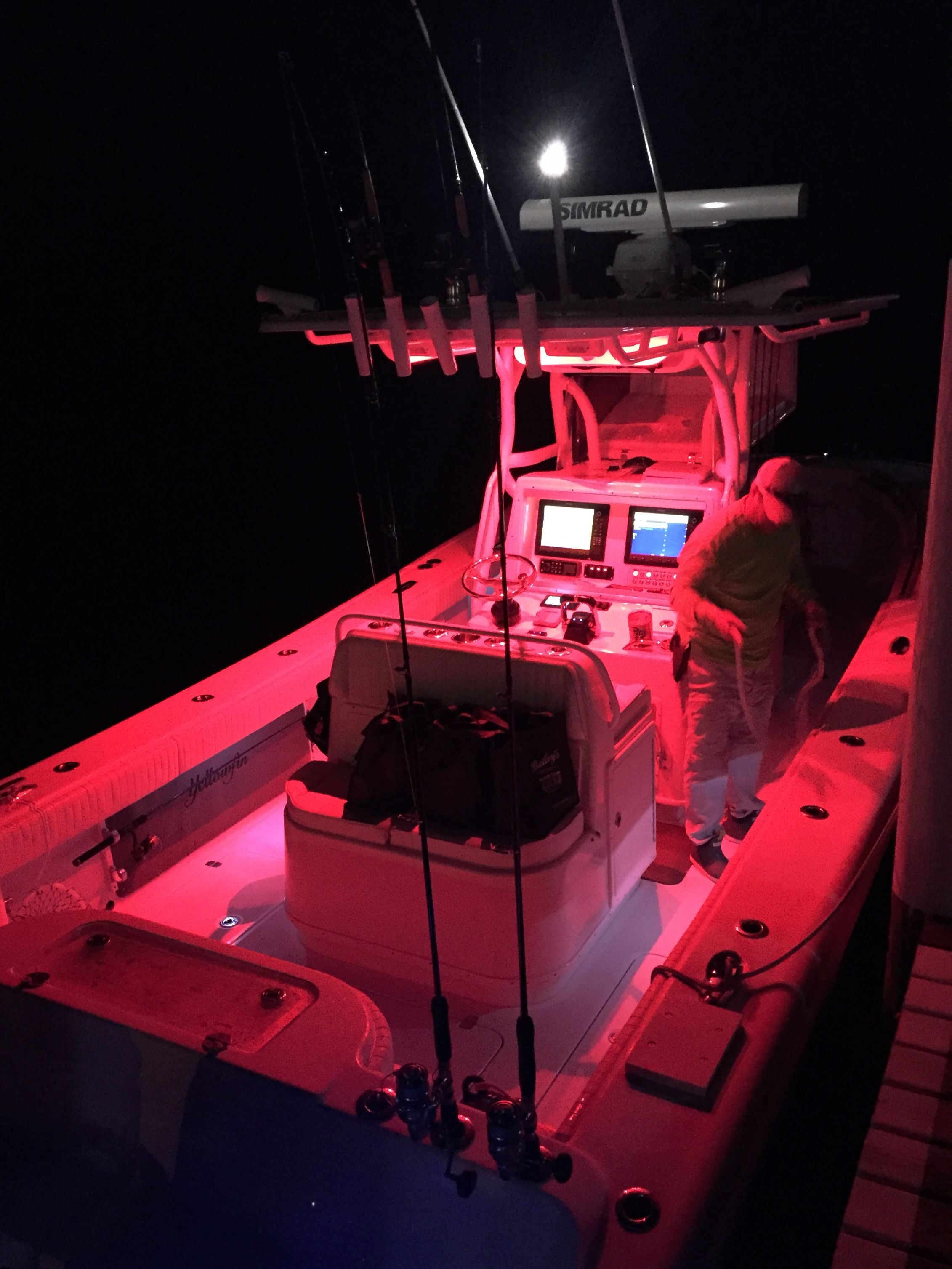Red lighting on Yellowfin center console #makoboatsconsoles