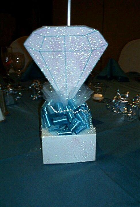 Centerpiece Quinceanera Ideas Diamonds Denim Party