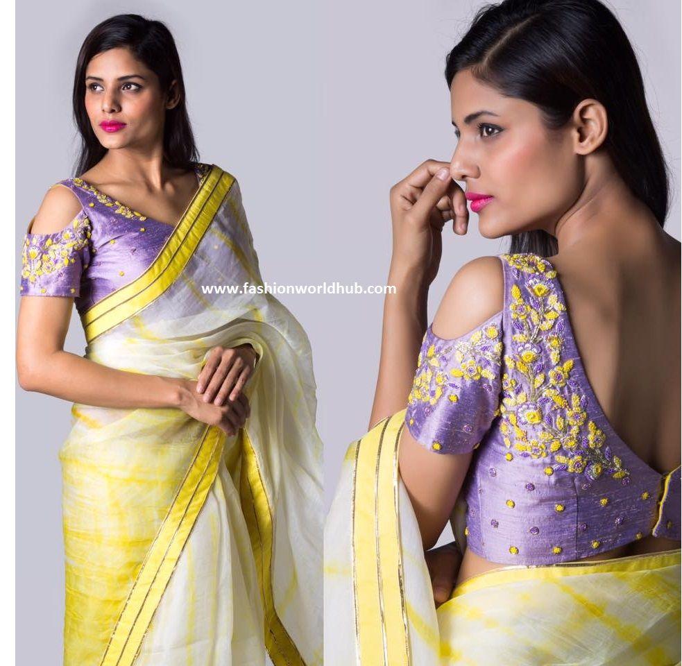 Hot Trend: Cold Shoulder Saree Blouse Designs