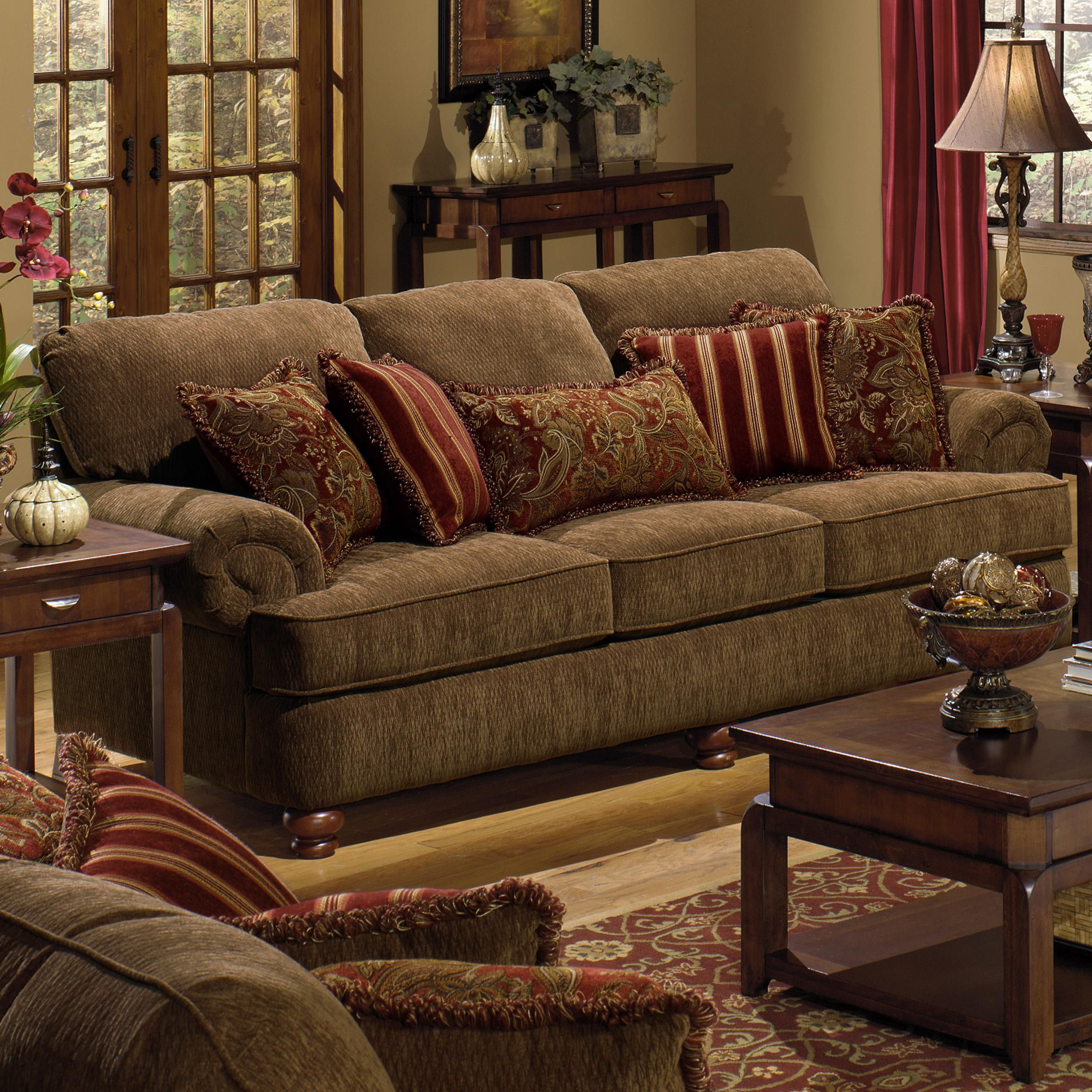 Belmont sofa with rolled arms and decorative pillows by for Brown living room furniture