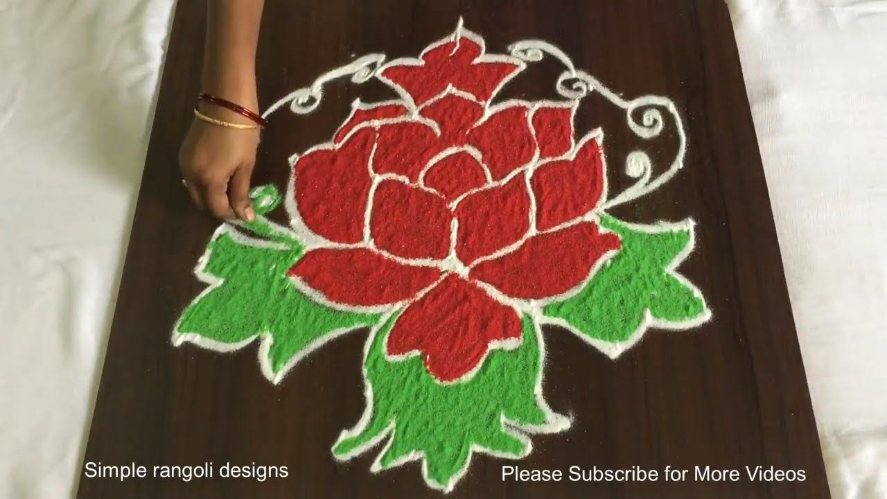 Rose Flower Rangoli Design With 7 To 4 Dots Beautiful Colours Kolam Flower Rangoli Rangoli Designs Rangoli Patterns