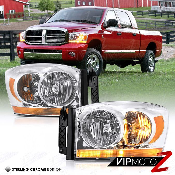 2006 Dodge Ram 1500 Amber Bar Model Chrome Headlights Lamps 2006 Ram 2500 3500 Dodge Ram Dodge Ram 1500 Bar Model
