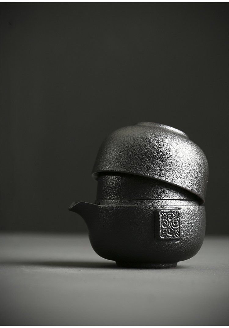 Black Nesting Japanese Ceramic Travel Tea Set Two Cup #teasets