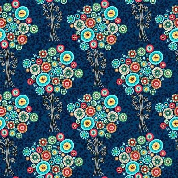 http://www.plushaddict.co.uk/makower-aurelia-trees-blue.html Makower - Aurelia Trees Blue - cotton fabric