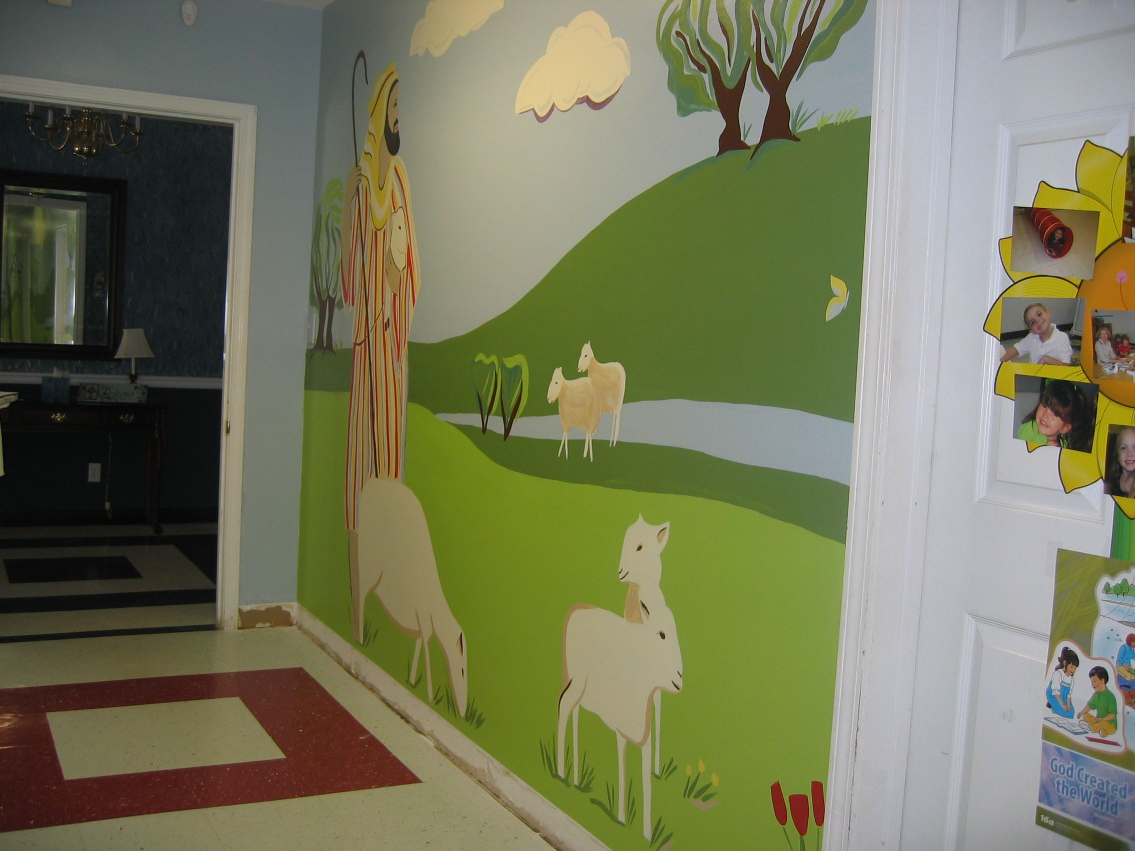 Church preschool hallway mural 90 finished church for Church nursery mural