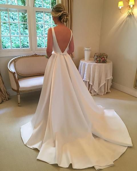Wedding Gown Under 200: Simple 2018 Wedding Dresses Satin Scoop Neckline Modest