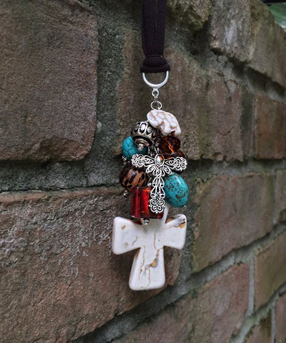 Boho Car Accessory for Women Tribal Turquoise Rear by TheBadaBling  Car accessories for women
