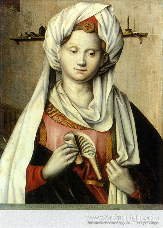Robert Campin's oil painting Cumaean Sibyl, By Ludger tom Ring the Elder after Robert Campin