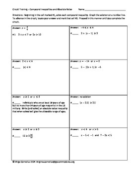 Circuit Training Compound Inequalities And Absolute Value Algebra Compound Inequalities Absolute Value Inequality