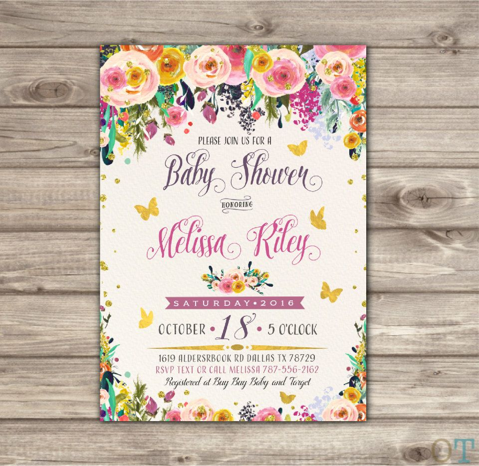 Boho Butterfly Baby Shower Invitation Vintage Rustic Bohemian Baby ...