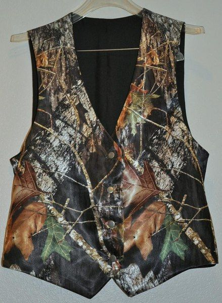 mans satin camo wedding vest