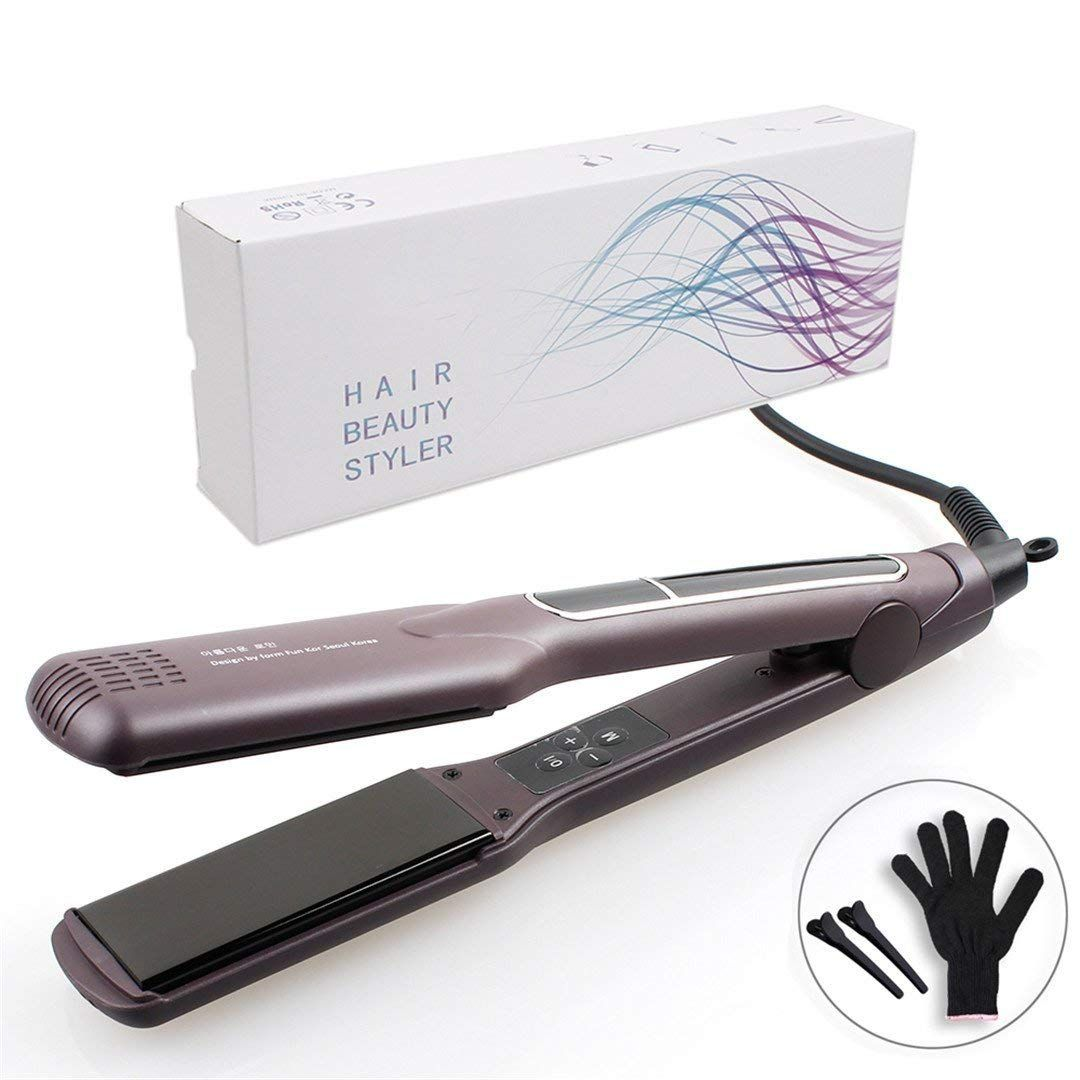 Korean Hair Flat Iron Wide Plate Ceramic Hair Straightener 1 1 2 Inch Dual Voltage Bivolt Chapinha Flat Iron Hair Styles Ceramic Hair Straightener Ceramic Hair