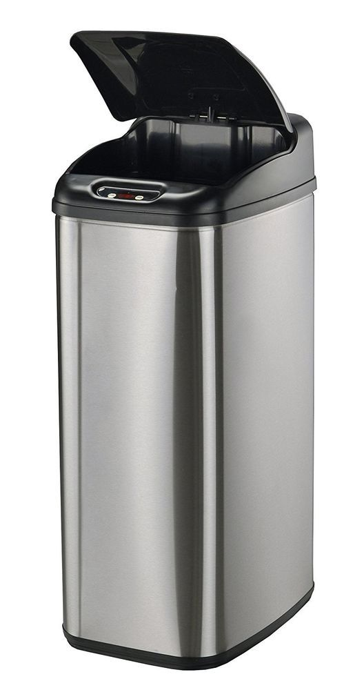 Trash Cab Garbage Bin Stainless Steel Touchless Slim Open Close ...