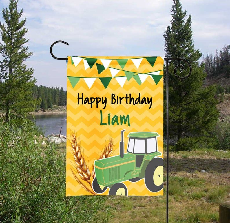 Personalized Happy Birthday Tractor Garden Flag Birthday Etsy Personalized Garden Flag Birthday Flags Personalized Flag