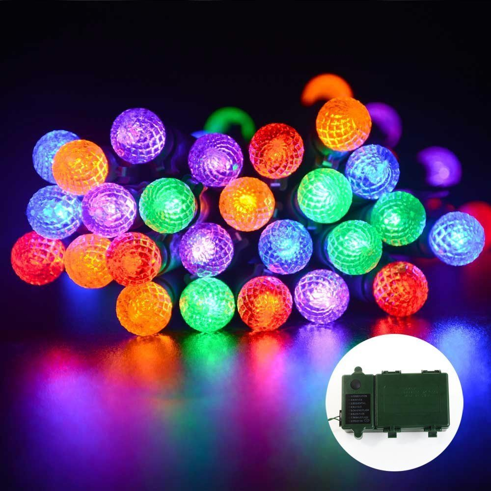 Amazon.com - lederTEK 50 LED 13.1ft Super Bright Battery Operated(3 x C size, not included) Clear Ball String Lights with 8 Modes Automatic Timer and Indicator Light for Indoor, Outdoor, Halloween Lights Decoration, Waterproof(50 LED G12 Multi-Color) -