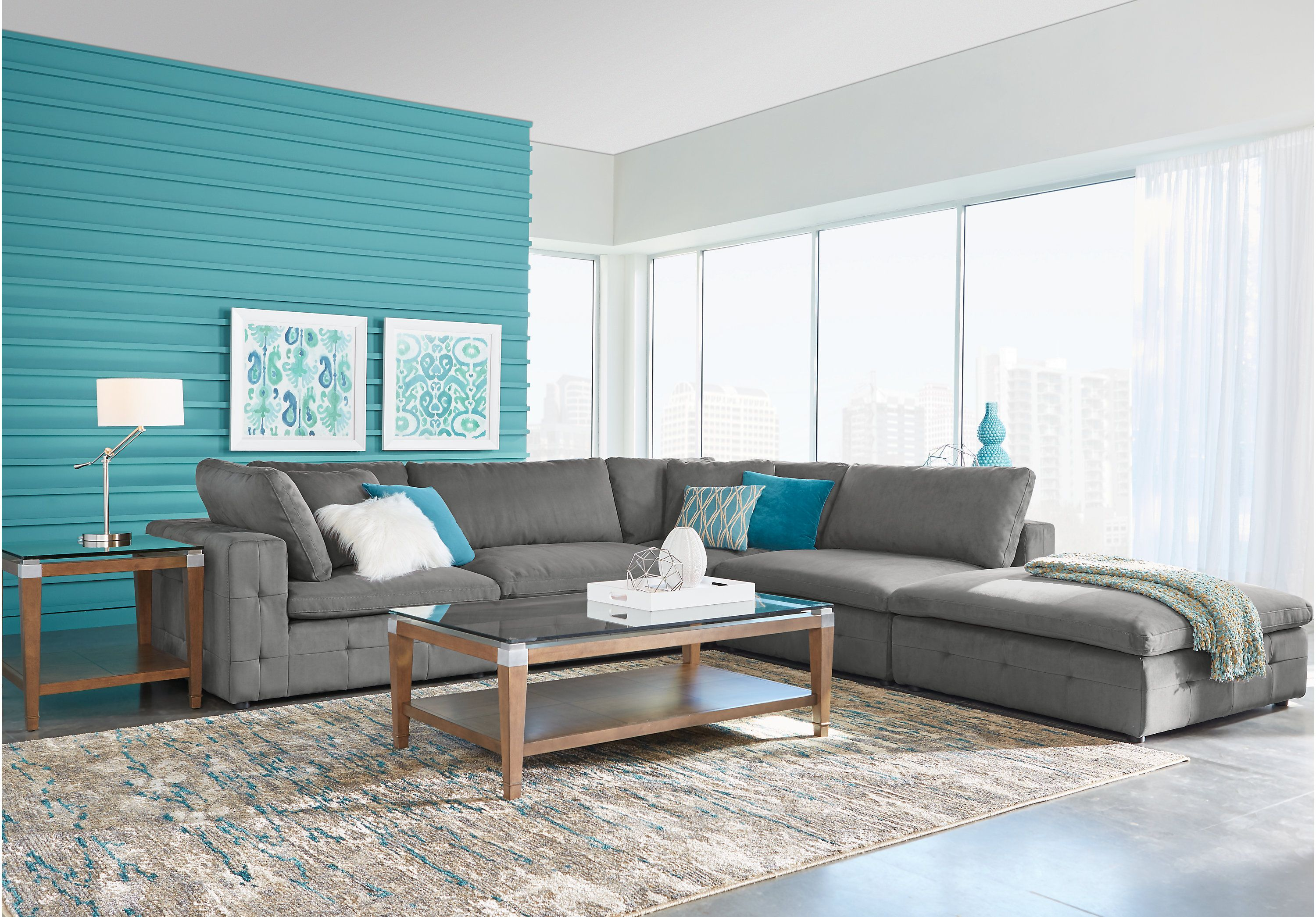 picture of Noe Valley Gray 5 Pc Sectional from Sectionals