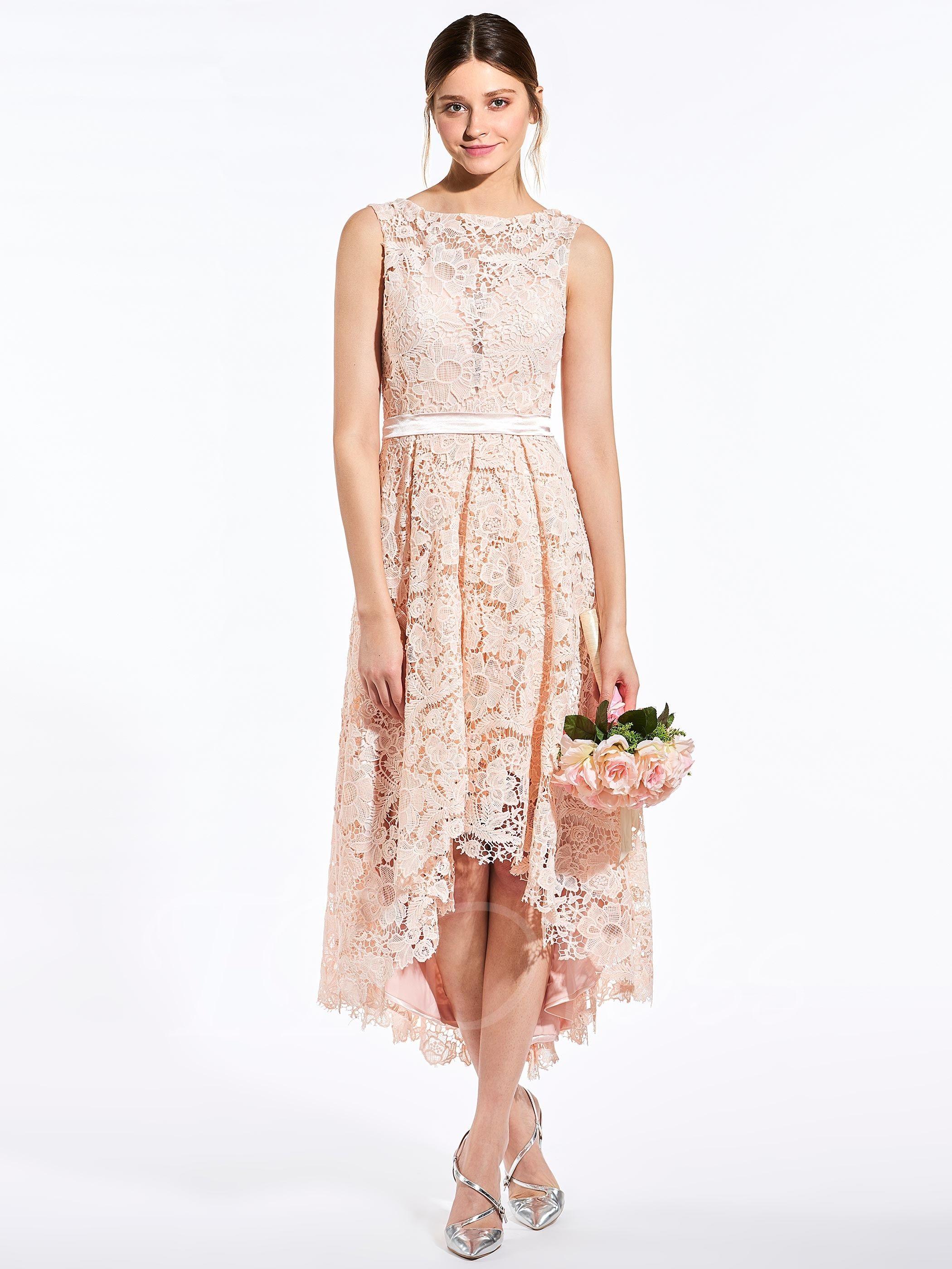 Halter top wedding dresses plus size  Lace Button HighLow Bridesmaid Dress  High low bridesmaid dresses
