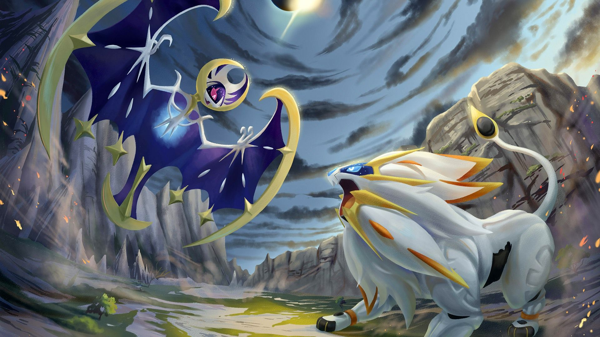 Pokemon Sun And Moon Wallpaper: Pokemon Sun And Moon Solgaleo Vs Lunala
