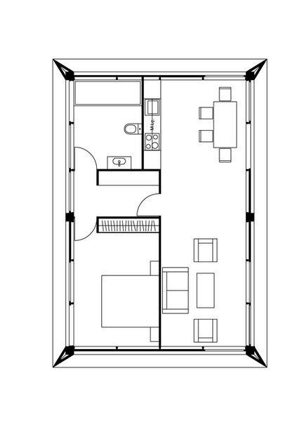 Dise o de peque a casa que utiliza m todos prefabricados for Planos de construccion de casas pequenas