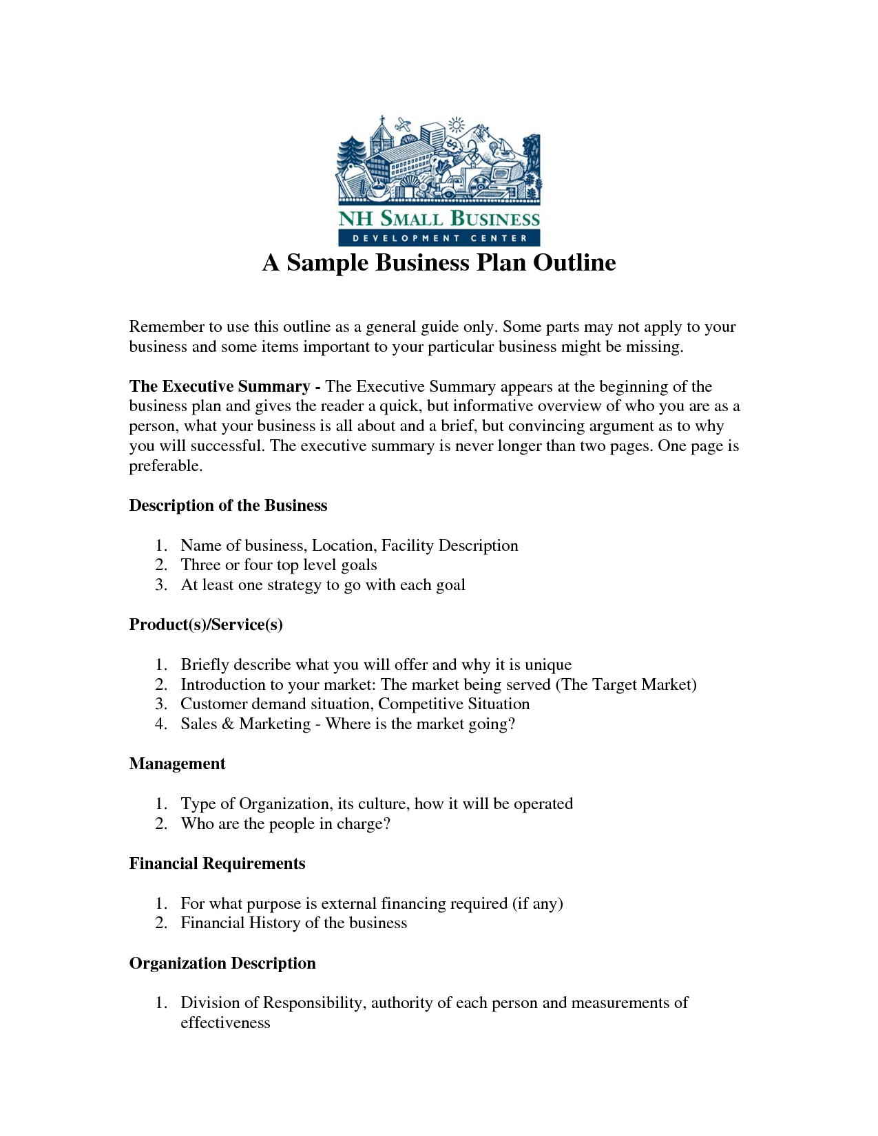 Free Printable Business Plan Sample Form (GENERIC