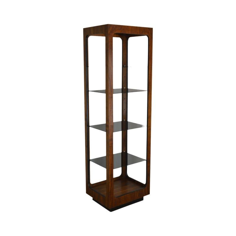 High Quality American Made Vintage Walnut Etagere with Smoked Glass Shelves by Lane