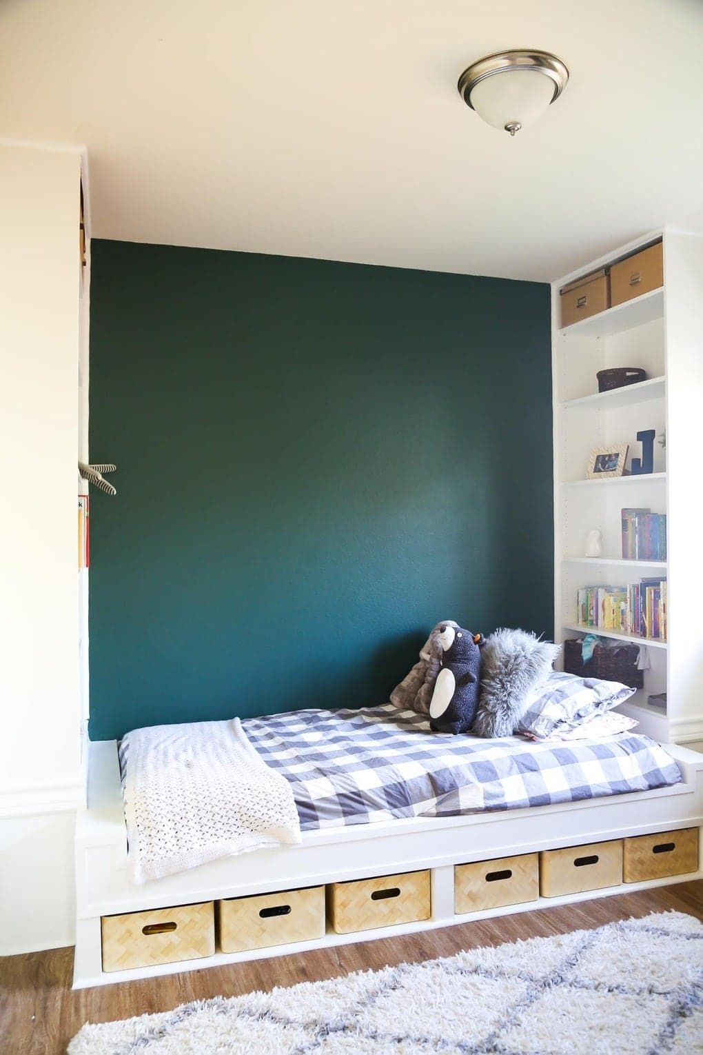 Easy DIY Bed with Built In Shelves (Using IKEA Bookcases!)
