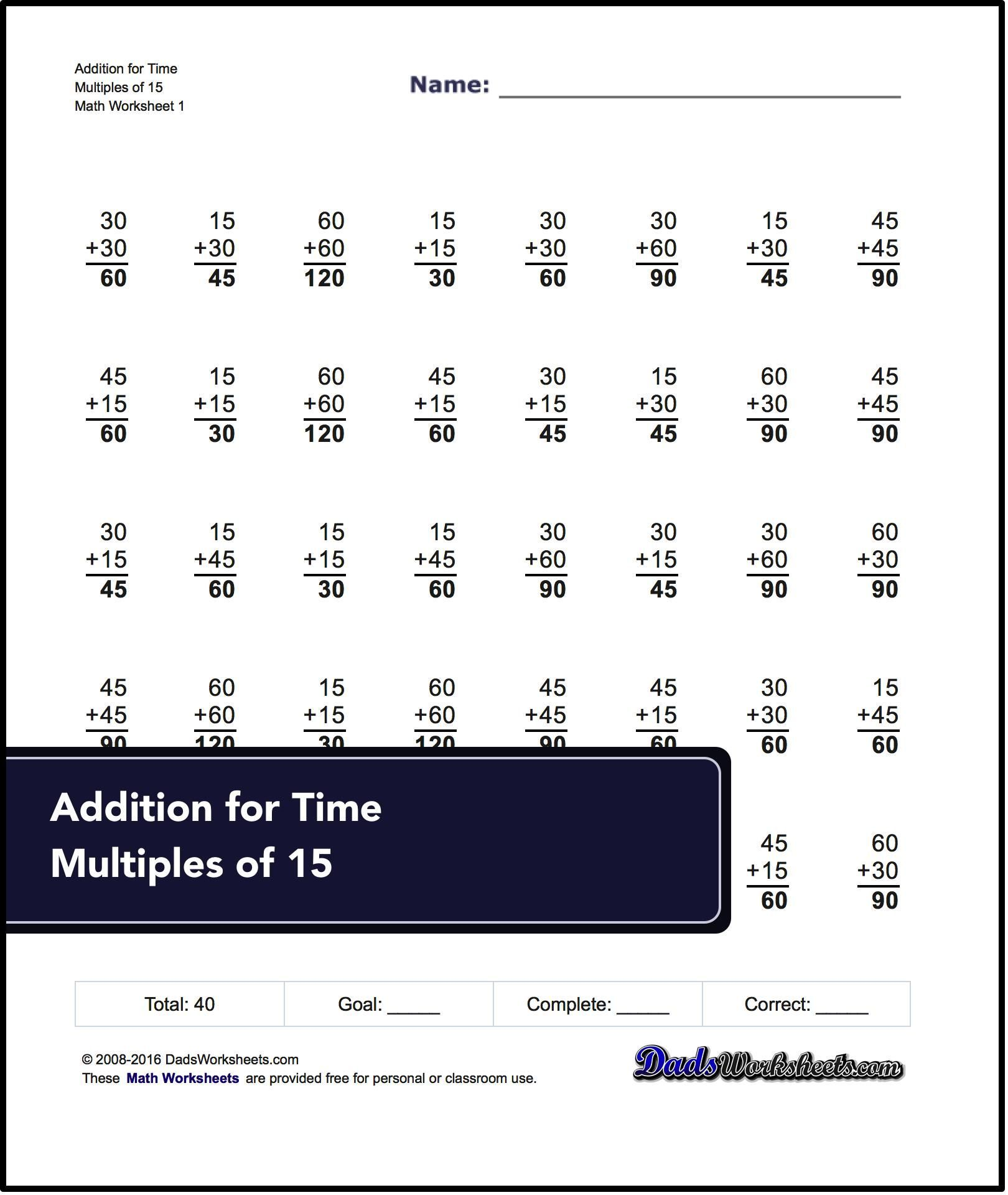 These Addition Worksheets Provide Sample Programs That