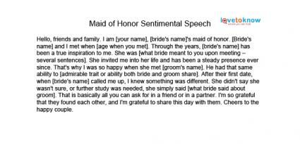 Maid of honor speech examples for friend
