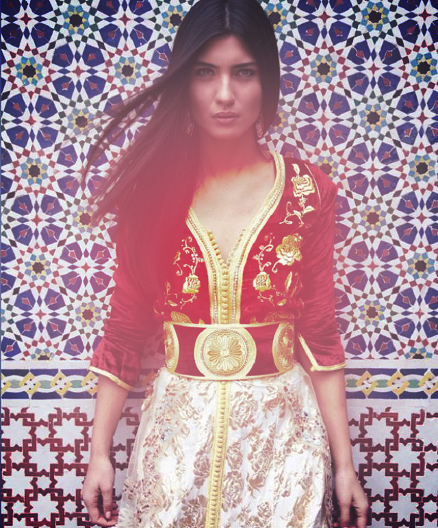 •Tuba Büyüküstün with the Moroccan traditional dress