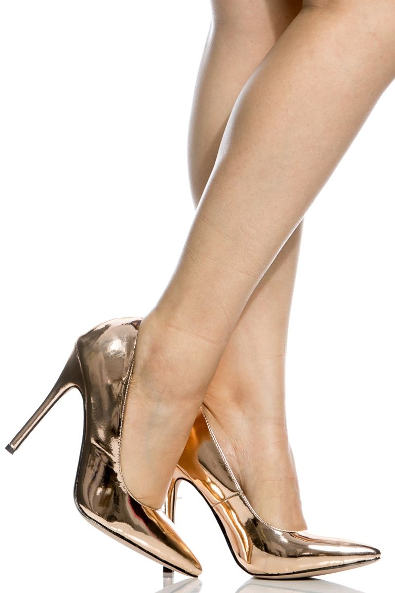 e4c2dc4855a Metallic Rose Gold Faux Patent Leather Pointy Toe Classic Pumps   Cicihot  Heel Shoes online store sales Stiletto Heel Shoes