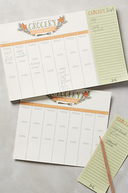 9th Letter Press Grocery And Meal Planner