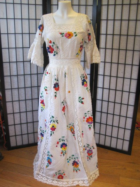 Stunning Vintage s Mexican Wedding Dress Maxidress White Red Orange Purple Green Embroidery Crochet Small