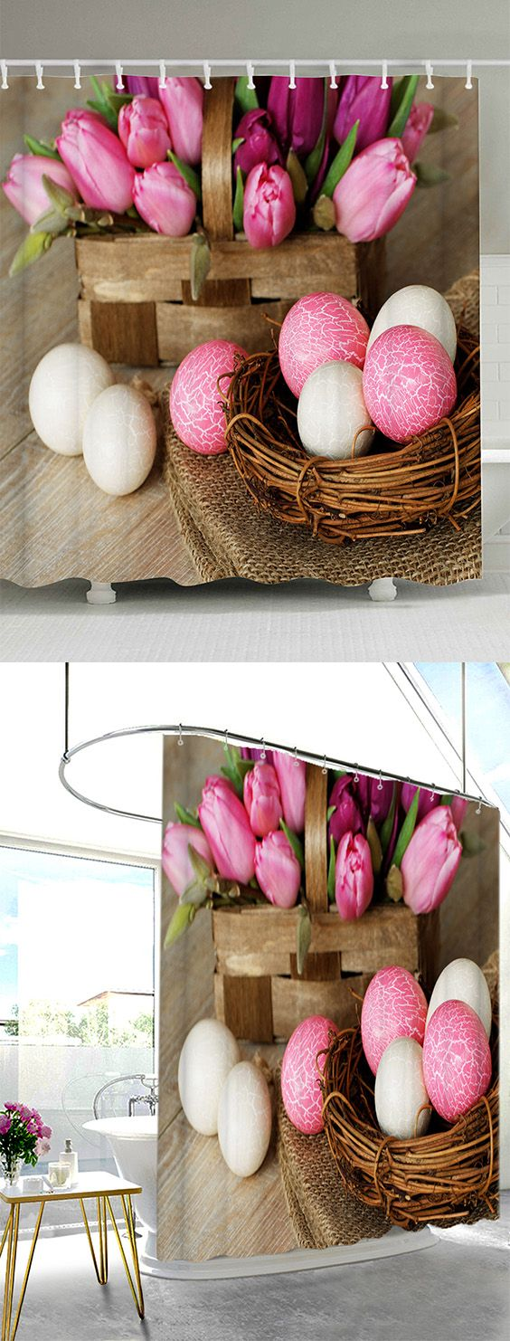 Happy Easter Shower Curtain with 12Pcs Hooks   Easter ...