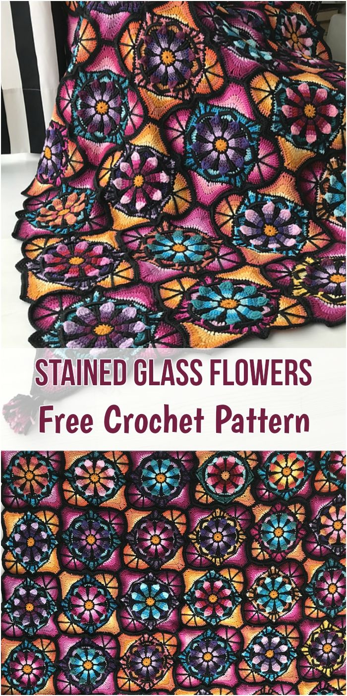 Stained Glass Flowers [Free Crochet Pattern | Stained glass flowers ...