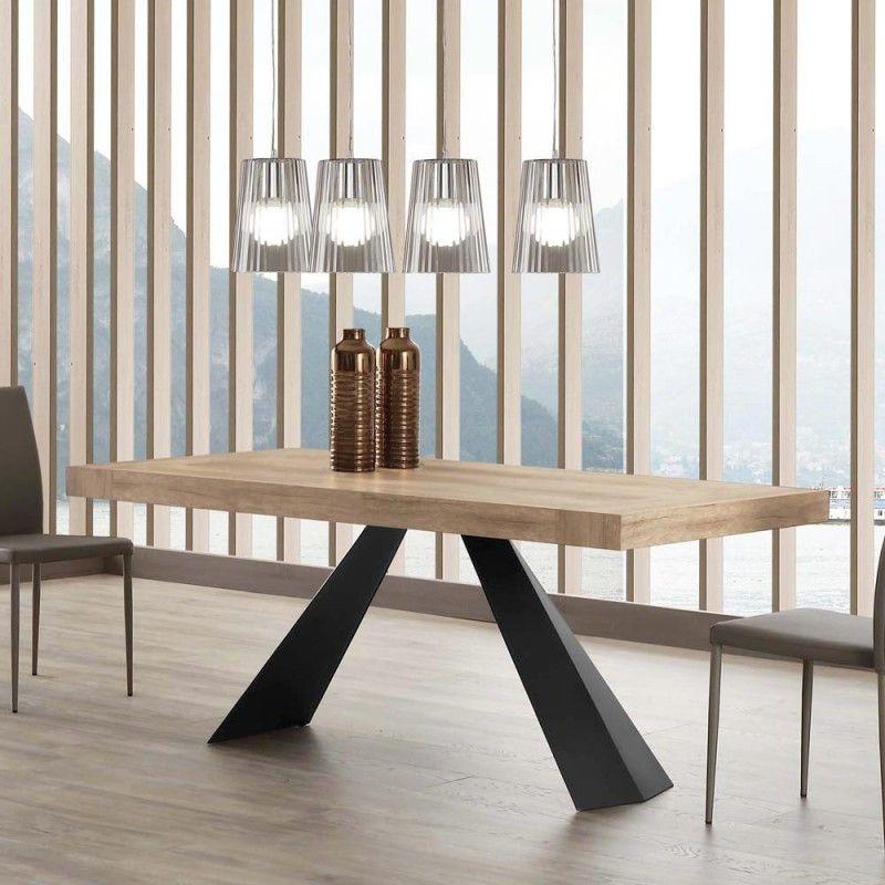 Table Salle A Manger Extensible En Bois Et Metal Teramo Design Moderne En 2020 Table Salle A Manger Table De Salle A Manger Extensible Table Moderne