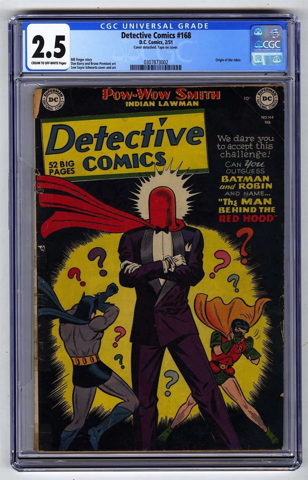Detective Comics #168 CGC 2 5 DC Comic MEGA KEY Origin Joker Red
