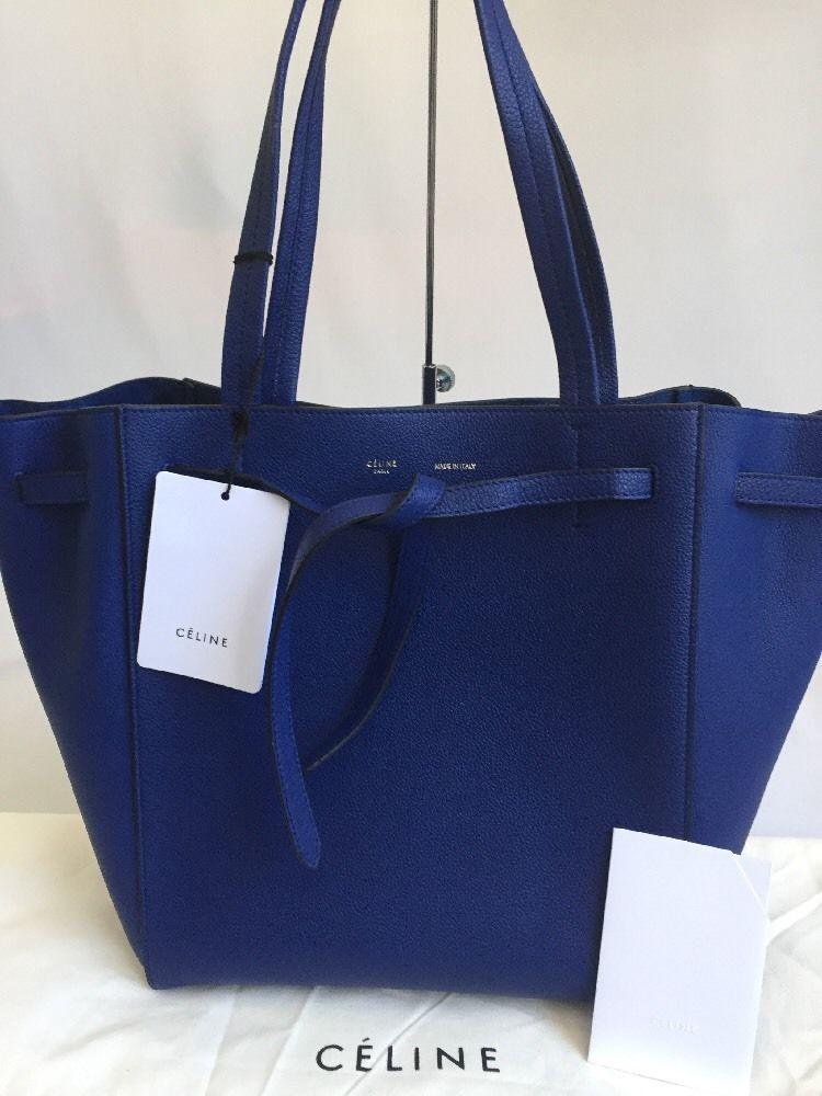9ce23dd63637 Celine NWT  1700 Indigo Blue Grained Leather Small Cabas Phantom Tote Bag