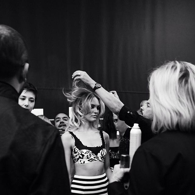 Backstage at Diane von Furstenberg S/S 2015 styling the stunning Candice Swanepoel #BioSilkNYFW